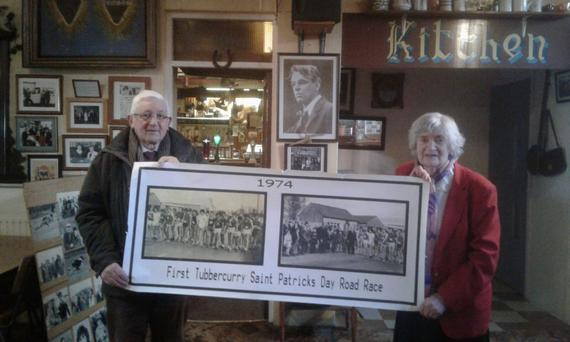 Annie Killoran and Lukie Kilcoyne, founders of the Tubbercurry St Patrick's Day race with the first photo