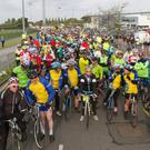 Cyclists at the start of the Sport Ireland Yeats Tour of Sligo at IT Sligo on Sunday morning. The event saw close to 2,000 cyclists taking to the roads over the weekend