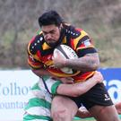 Sligo RFC'S Mata Fifita powers through with the ball