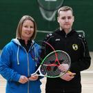 Stuart Haxell who is competing at the World Championships with his coach Jean Bar. Pic: Carl Brennan.