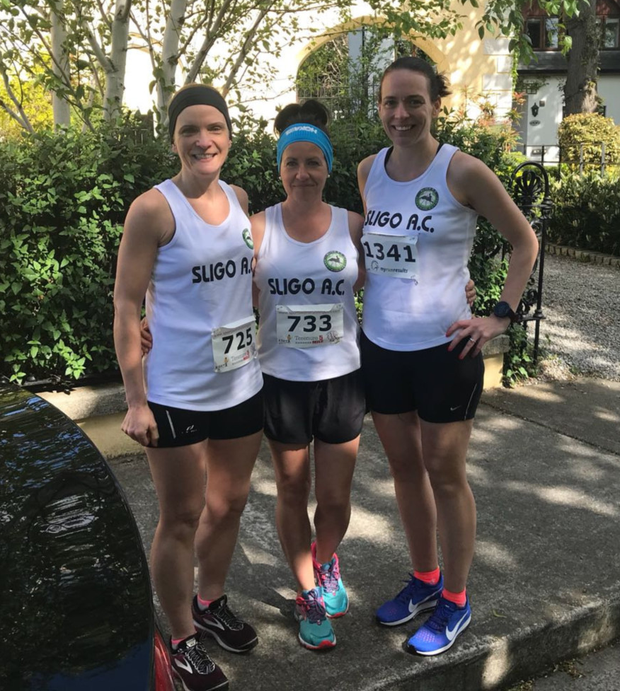 Fionnuala Silke, Aishling Kennedy and Noirín Kelly at the Terenure 5 Mile at the weekend.