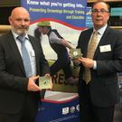 Kevin McCloskey,Chairman Irish Surfing Association and Roy Kilfeather, Strandhill Surf Rescue at the Irish Water Safety awards in Dublin Castle recently