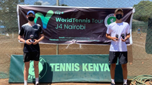 Roy Keegan (left) with his doubles partner after winning the J4 doubles International Tennis Federation event in Nairobi
