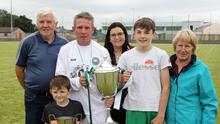 Ballymote captain Colm Duffy with family