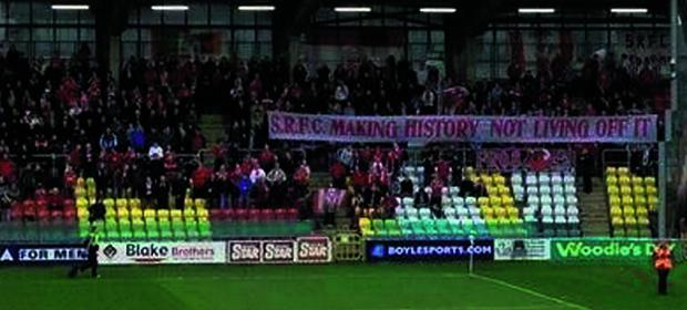 Sligo Rovers 'Forza' fans with their banner at Tallaght Stadium last Friday