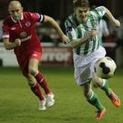 Wanderers vs Sligo Rovers: Adam Hanlon chases down the ball in the Sligo half