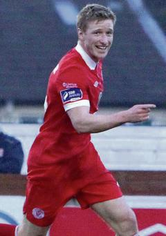 Paul O'Connor turns away in celebration after scoring Rovers second goal against UCD at the Showgrounds last Friday.