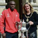 Joseph Ndo and Mayor of Sligo Clr. Marcella McGarry pictured with the Setanta Cup at a Civic Reception in City Hall to honour Sligo Rovers victory over Dundalk in the Final at Tallaght Stadium recently.
