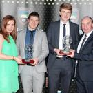 Susanne Kerins, Sales Representative, The Sligo Champion presenting the Sligo GAA All Star Senior Player of the Year Award to Brian Curran (Tubbercurry) and Michael Moran, Sports Editor, The Sligo Champion, presenting the Sligo GAA Intermediate All Star Award to Conor Griffin, Calry/ St Joseph's