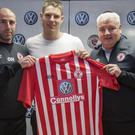 New signing Morten Nielsen with manager Owen Heary and assistant manager Gavin Dykes