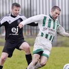 Gareth Kelly, City United in action with Lochlainn Conboy, Boyle Celtic in Sean Fallon Park