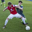 Kieran Sadlier battles with Bohs' Aymen Ben Mohamed