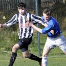 Ryan Hargadon of Merville in action against Lough Harps in Cleveragh at the weekend. Pic: Carl Brennan
