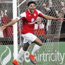 Jonah Ayunga celebrates his first goal for the club. Pic: Carl Brennan