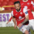 Raff Cretaro in action against Finn Harps. Pic: Carl Brennan