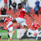 Benny Igiehon of Sligo Rovers celebrates after scoring his side's first goal during the SSE Airtricity League Premier Division match between Sligo Rovers and Dundalk at the Showgrounds