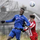 Ibrahim Savage in action for Cartron Utd with Ballisodare. Pic: Carl Brennan.