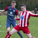 Jack Keaney of Sligo Rovers and Peter Murray of Ballisodare in action during Sunday's friendly at Young's Quarry. Pic: Donal Hackett