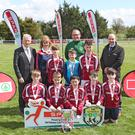 Ardkeeran NS Riverstown Sligo winners in the SPAR FAI Primary Schools 5's Connacht Provincial Final, pictured in Solar21, Castlebar alongside SPAR representative Willie O'Byrne MD SPAR, Ms Edel Dwyer, teacher; Damon Kearney, FAI Development Officer Sligo/Leitrim and Gerry Burke, SPAR Representative. Ardkeeran NS progress to the National Finals in the Aviva Stadium on May 29th . Pic: Michael Donnelly