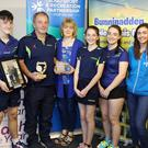 Coach Alan Taylor from Bunninadden with his wife Alison and children David, Rachel and Amanda and Denise McDermott from the Sligo Sport and Recreation Partnership in Bunninadden on Friday. Pics: Carl Brennan.