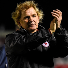 Sligo Rovers' manager Liam Buckley applauds the travelling support after his side's 4-2 victory away to Cork City in Turners Cross on Friday night. Pic: Eóin Noonan/Sportsfile