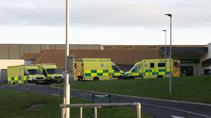 Ambulances at the back of the A&E Wexford General Hospital on Monday afternoon