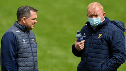 Davy Fitzgerald with Co. Chairman Micheál Martin, who will lead the search to find his replacement.