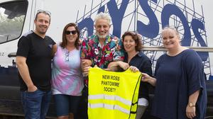 Baz Ashmawy with panto society volunteers Sean O'Brien, Jenny Kehoe, Lucy Goggin and Linda Grace