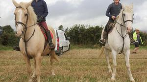 Yvonne Lambert on Cheyenne and Derby Browne on Blue at the Duffry Rovers horse canter at Coolree.