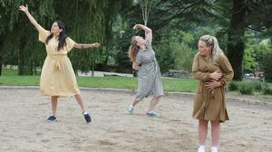 Caroline Lawless, Sorcha O'Connor and Vivian Brodie Hayes at the Dolmen dance routine in the Orchard Peace Park, Enniscorthy.