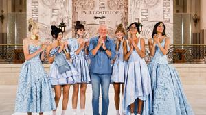 Paul Costelloe showing his latest collection at London Fashion Week, which featured jewellery by Blaithin Ennis.