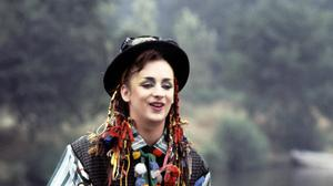 A colourful Boy George in the video for 'Karma Chameleon'.