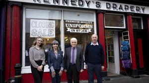 9/10/2021 Kennedy's drapery to close. Photographed are Kathleen, Philip and Caoimhe Kennedy and Ger O'Leary who started working in the shop in 1981. Philip's parents opened the shop in 1959. Photo; Mary Browne