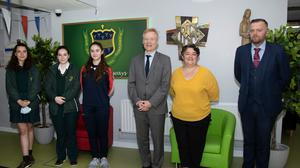 The French Ambassador to Ireland HE Vincent Guérend visiting the Presentation secondary school with (l to r) students Fleur Lambert, Guiliette Devitt and Jane Devitt, whose mothers are French, the school's French teacher Sandrine Pak-Kenny and principal Anthony Ryan.