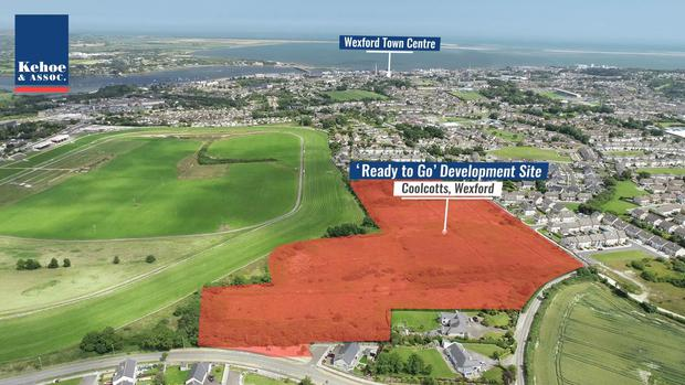 The site, which is adjacent to Wexford Racecourse, has full planning permission for 157 residential units. Photo: Kehoe & Associates.