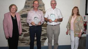Presentation by Gorey Musical Society to Paul Doran and Frank Byrne, both stepping down after years of servicein Rosie's in the Loch Garman Arms. The presentation was made by Ann Thim (president) with Thelma Rath (chairperson).