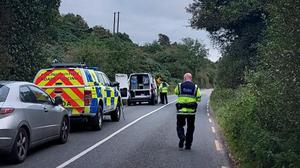 Gardaí at the scene on the Dunmain road this evening.