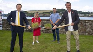 16/7/2021 Sun, sea, sand and a sod turning as Irish Water begin works on the new Wastewater Treatment Plant for Arthurstown, Duncannon and Ballyhack. From left; Minister James Browne, Barbara Ann Murphy, Wexford County Council chairperson and Paul Fallon, Irish Water Programme manager and celebrity chef Kevin Dundon. Photo; Mary Browne