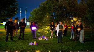 Some of those who attended the candle light event at Pearse Park to mark World Suicide Prevention Day.