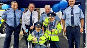 Sean Barnes and Joe Masterson (front) with Stephen Ennis, Anthony Pettitt, Sean Cince and Kevin Donohoe at the Little Blue Heroes graduation at Gorey Garda Station.