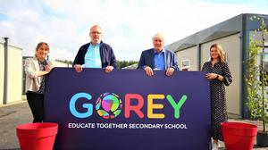 Emer Nowlan CEO Educate Together, Gerry McKevitt - School manager, ,Niall Wall Building Officer and Joanne O Grady parents start up committee at the new Educate Together Secondary School, Gorey