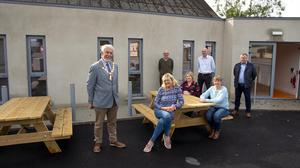 Jim Moore Cathaoirleach Rosslare Municipal District, Noirin Cummins district manager, Marie Mythen and Bernie Whelan Clongeen Hall joint treasurers. Back; Michael Murphy chairperson, Dean Rosslare staff office and Maurice Mythen project manager.