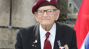 War veteran Sam Kendrick pictured having received his medals from the Dutch Ambassador at Enniscorthy Castle last year.