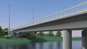 Artist's drawing of the new bridge over the Slaney as part of the Enniscorthy Flood Relief Scheme