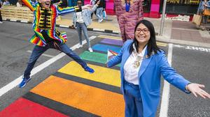 The rainbow crossing recently installed for Pride on Capel Street in Dublin.