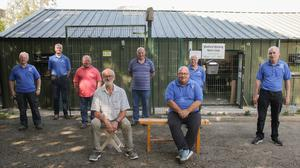 Jonathan King visiting the Wexford Men's Shed in Redmond Park: (back, from left); Brendan Tormey, James Murphy, Paddy Caulfield, Declan O'Neill, Andrze Tomczyk and PJ Cullen, (front) Jonathan King and Martin Haughton.