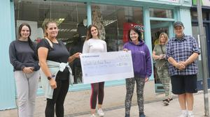 Andrea Hevey (volunteer), Kim Lawless, Leah Hevey (volunteer), Jackie Polson (manager), Colette Myers and Breda Hevey at the presentation of the cheque for €5,500 to South East Animal Rescue Charity Shop.