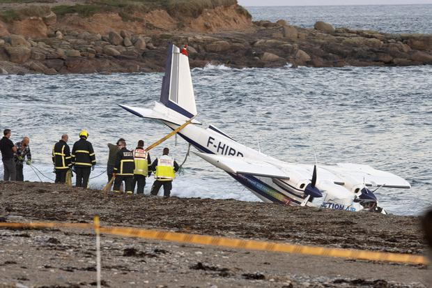 The wreckage of the plane which crash landed at the water's edge on the beach at Carnsore Point on Thursday evening. PHOTO: GER HORE
