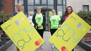 Liz Cullen (manager), Cyntia Colfer, Janett Doyle and Mary Moulds at the launch of MY CU debit card at Enniscorthy Credit Union.