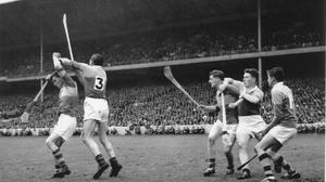 Nick O'Donnell (3), John Mitchell and goalkeeper Pat Nolan keeping the Tipperary attack at bay during the 1960 All-Ireland final.